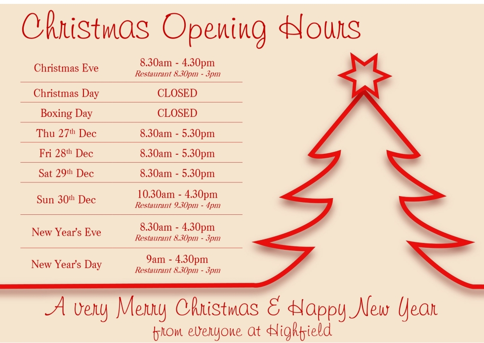 Christmas opening hours 18